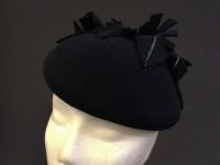 Couture by Beth Hirst Black and Silver Feather Beret